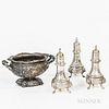 Sterling Silver Sauceboat and Three Sterling Silver Shakers
