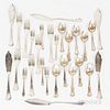 German .800 Silver Boxed Fish Set, Six English Sterling Silver Seafood Forks, and .830 Silver Teaspoons