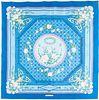 """Framed Hermes """"Jeux de Paille"""" Blue Silk Scarf"""
