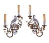 Pr. French Bagues Style Rock Crystal Wall Sconces