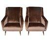 Pair of Italian Velvet Uphostered Armchairs