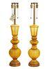 Pr. Murano Yellow Glass Marbro Table Lamps