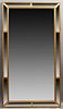 French Gilt Composition Beveled Glass Overmantle Cushion Mirror, early 20th c., the beaded frame around a large beveled glass plate...
