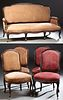 French Louis XV Style Carved Mahogany Five Piece Parlor Suite, late 19th c., consisting of a settee and four side chairs, the settee...
