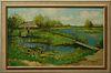 "Jacob Cornelis Van der Heyden (1928-2012, Dutch), ""Dutch Landscape With Figure,"" 20th c., presented in a polychromed frame with a li..."