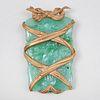 Gilt-Metal-Mounted Carved Jade Pendant
