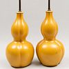 Pair of Chinese Yellow Glazed Porcelain Gourd Form  Lamps