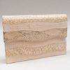 Yves Saint Laurent Haute Couture Linen and Textured Leather Clutch