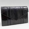 Yves Saint Laurent Haute Couture Black Textured Leather Clutch