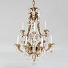 Louis XV Style Gilt-Bronze and Rock Crystal Nine Light Chandelier