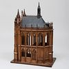 French Neo-Gothic Carved Limewood and Ebonized Architectural Model of a Church