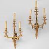 Set of Four Louis XVI Style Gilt-Bronze Three-Light Sconces