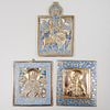 Group of Three Russian Brass and Enamel Icons