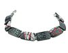 Silver and Polymer Linked Bracelet - Black and White and Red