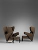 Italian Mid-20th Century Pair of Wing-Back Armchairs
