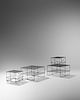 Modernist American, Mid 20th Century Pair of Large Wire Side Tables and Two Small Wire Side Tables