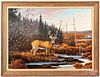 Maynard Reece oil on canvas stag in a landscape