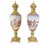 A PAIR OF MONUMENTAL NAPOLEONIC SEVRES STYLE VASES, LATE 19TH CENTURY