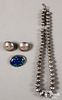 Navajo Indian silver beaded necklace and earrings