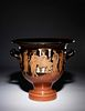 An Attic Red-Figured Krater  Height 14 1/8 x width 14 3/4 inches.