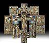 Russian Coptic Enameled Bronze Icon - Crucifix