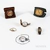 "Four Watches and Two Travel Clocks, Waltham open-face 15-jewel watch with ""special"" dial and chain; Elgin Watch Co. hunter-case watch;"