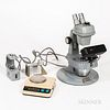 """Bausch & Lomb Mark-V """"Gemolit"""" Microscope and Accessories, a Gem Polariscope, and Duplex II Refractometer, and an Ohaus model CT600-S s"""