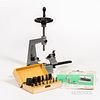 Bergeon No. 6200 Bushing Tool and Accessories, punches, centering bit, stakes, reamers, and pivot cutter.
