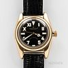 """Rolex Oyster Perpetual """"Bubble Back"""" Reference 6011 Wristwatch, gold-filled case with repainted black California dial, sweep center sec"""