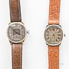 """Two Illinois Watch Co. """"Major"""" Wristwatches, a two-tone example with engraved bezel, the other with a plain bezel, both with two-tone a"""