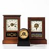 """Three American Shelf Clocks, cast iron Terry Clock Co. """"Time-Piece"""" with rear label, and two cottage clocks including a Wm. Gilbert wit"""