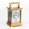 """Tiffany & Co. Grand Sonnerie Carriage Clock, France, gilt-brass and beveled glass case, enameled roman numeral dial marked """"Tiffany & C"""