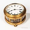 """Unusual Chain Fuse Carriage or """"Traveling"""" Timepiece, lacquered brass and glass circular case with 3 1/4-in. dia. roman numeral porcela"""