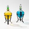 Pair of Colorless Glass Countertop Apothecary Show Globes, mounted to custom made iron stands, globe ht. 7 in.