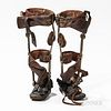 Set of Early Child's Leg Braces, steel framework with leather-covered braces, rotating knee joint, leather shoes measure 5 1/2, ht. 12