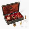 """19th Century Cased Bloodletting and Cupping Set, Paris, France, leather-bound case with bail handle plate engraved """"Ventouses,"""" burgund"""