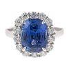 A 7.31ct Unheated Ceylon Sapphire & Diamond Ring