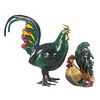 Majolica Rooster & Papier Mache Rooster