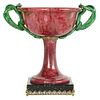 Exquisite Silver, Marble, & Diamond Mounted Rhodonite Bowl with Snake Handles