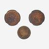 Three U.S. 1/2C and 1C Coins