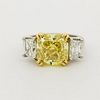 4ct Fancy Intense Yellow Diamond & Platinum Ring