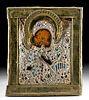 19th C. Russian Icon Brass Oklad / Beads Virgin of Kiss