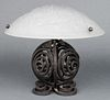 Muller Freres Luneville Art Deco Glass & Iron Lamp
