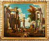 """Roman Capriccio"" Antique Italian Oil on Canvas"