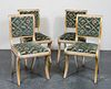 Regency Style Antiqued Upholstered Side Chairs, 4