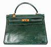 Hermes Green Leather Kelly 32 Handbag