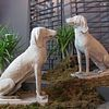 Pair of Carved Marble Dogs