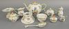 Group of eleven Herend Queen Victoria Green tableware, to include a teapot, cream, small covered vessel, covered sugar bowl, and several other pieces,
