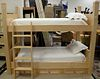 "Custom oversized maple bunk bed, ht. 74"", 43"" x 80"" mattress size."