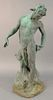 """Bronze, green patina of a Satyr, signed 'CBN' on the base, stamped by the foundry, 'Roman Bronze Works', ht. 31""""."""